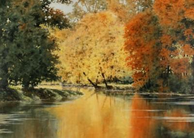 Fall at Bella Vista Lake (2015)<br>acrylic on canvas, 48x60 inches