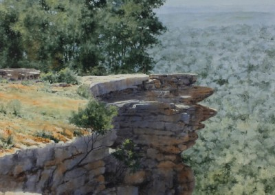 View from Petit Jean Mountain #1 (2015)<br>acrylic on canvas, 36x36 inches, SOLD