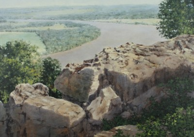 View from Petit Jean Mountain #3 (2015)<br>acrylic on canvas, 36x36 inches