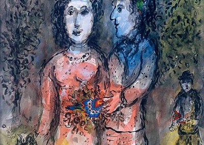 Rencontre des Amoureaux (1979)<br>watercolor, collage, ink and crayon on paper, 22 78 x 18 inches