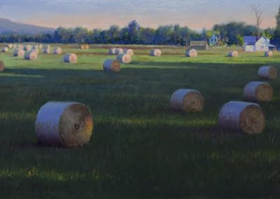 Cave Springs, 6:30 a.m. (2016)<br>oil on panel, 10x20 inches