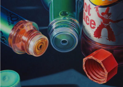 Caps Off (2002)<br>oil on canvas, 23 x 30 inches