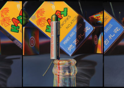 Whistling Moon (1990)<br> triptych - oils on canvas, 26 x 72 inches