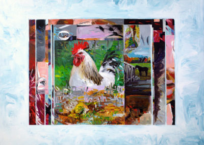 Ranch Rooster<br>acrylic and collage on board, 16 x 20 inches