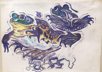 Frogs (c. 1950)<br>watercolor on paper, 8.5 x 11 inches