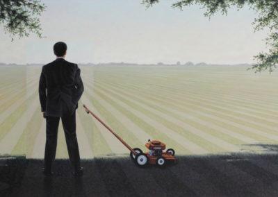 Lawnboy (2013)<br>acrylic on canvas, 24 x 48 inches