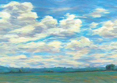 Ozark Sky (2017)<br>acrylic on canvas, 72 x 36 x 1.5