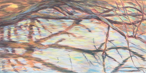 River Branch (2017)<br>acrylic on canvas, 72 x 36 x 1.5