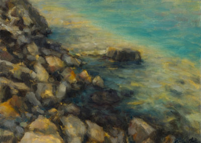 Emerald Shore (2016)<br>oil on canvas, 9 x 12 inches