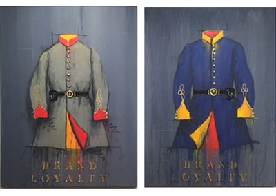 Brand Loyalty - Rebel Tunic & Union Blue<br>mixed media on canvas, 48.5 x 36 inches (each)