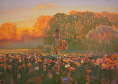 Zinnias at Dawn (2014)<br>oil on canvas, 36 x 48 inches