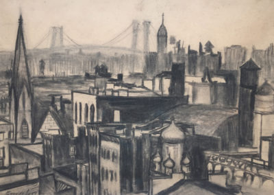 New York City Scape (circa 1910)<br>charcoal on paper, 16.5 x 22.375 inches