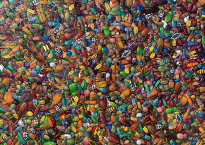 A Fondness for Beetles (2016)<br>oil on panel, 48 x 54 inches