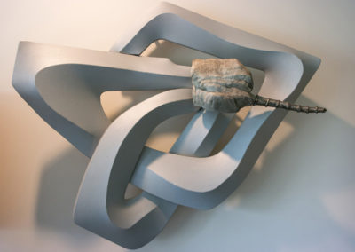 Gods & Goddesses 24 (1992)<br>stone, steel, wood, canvas, and acrylic, 35 x 40 x 10 inches
