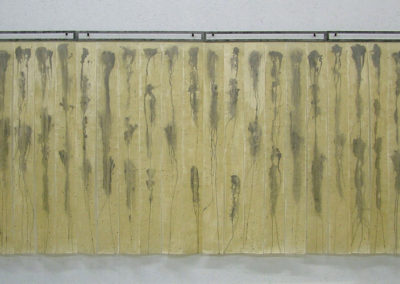 Rain Drops Keep Falling on my Soul (2009-2010)<br> steel, kozo paper, acrylic, and beeswax, 62 x 144 x 3 inches