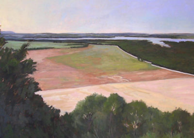 View from Petit Jean Mountain I (diptych)<br>oil on canvas 40 x 72 inches each