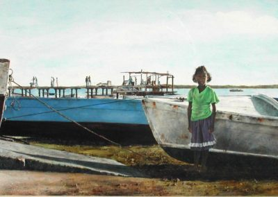 Wooden Boats (1989)<br>watercolor on paper, 21 x 39 inches