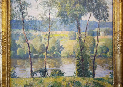 By the River (c. 1929)<br>oil on canvas, 27.5 x 30 inches