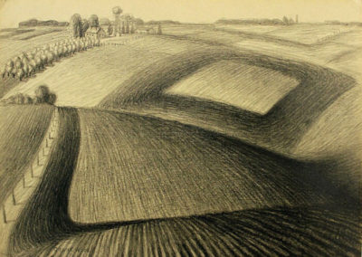 Plowing (1935)<br>charcoal on woven paper, 11 x 15.5 inches